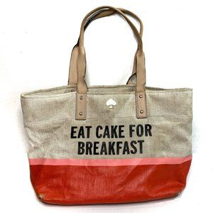 Kate Spade Call to Action Eat Cake Canvas Tote Bag